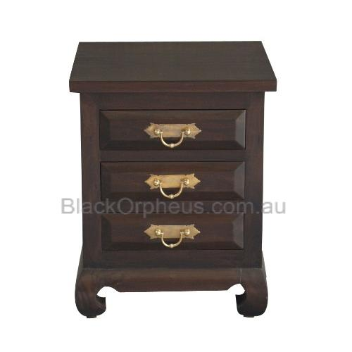 3 Drawer Opium Bedside Table Solid Wood