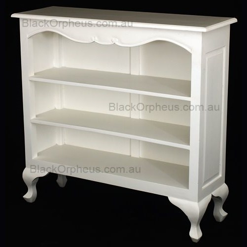 Small Low Bookcase French Provincial White Black Orpheus