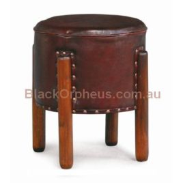 Ottoman Leather Stool Timber Legs CH 000 UFO LH M