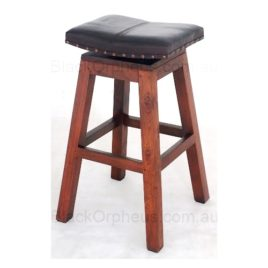 Timber Stool Leather Saddle H76cm