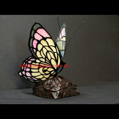 Leadlight Lamp Butterfly Pink Black Orpheus