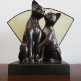 Art Deco 2 Cats Lamp