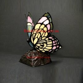 Leadlight Lamp Butterfly Pink.