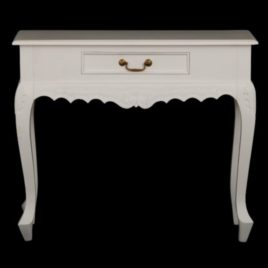 Hall Table Carved 1 Drawer Queen Ann White