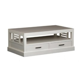 WCoffe Table Slatted Sides Timber White