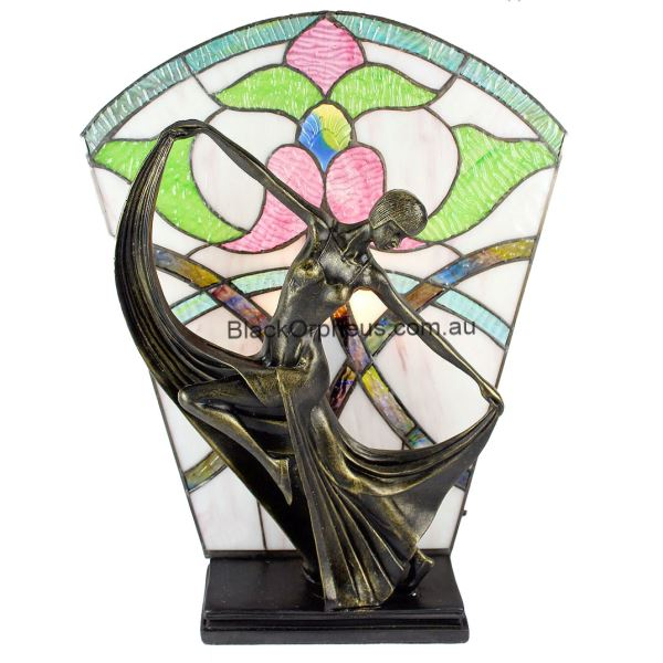 Art Deco Stained Glass Floral Table Lamp H40cm Black Orpheus