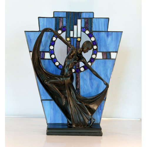 Art Deco Stained Glass Blue Table Lamp H40cm Black Orpheus