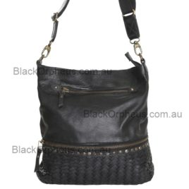 Barcelona Leather Shoulder Bag Cadelle Leather Woven Satchel