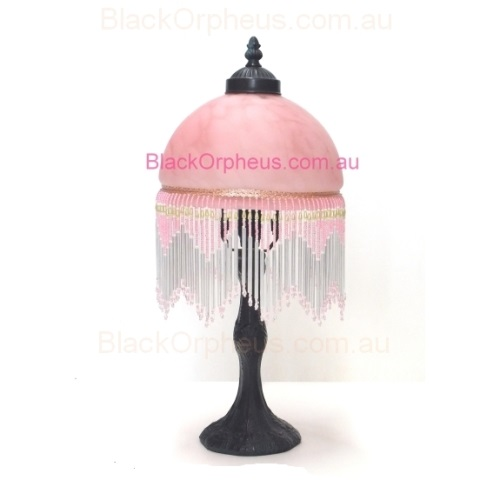 Victorian Beaded Lamp Pink Black Orpheus