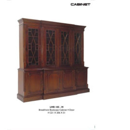 Break Front Bookcase Cabinet 4 Door