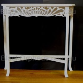 Small White Hall Table Carved