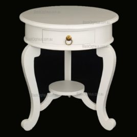 La Verde Cabriole Leg 1 Drawer Lamp Table white