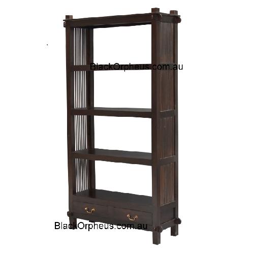 Diamond Open Bookcase 2 Drawer Black Orpheus