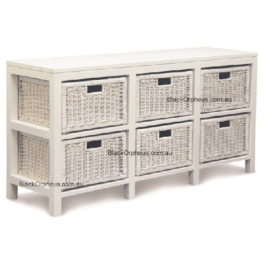 Rattan Chest 6 Drawers White
