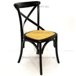 CROSS BACK OAK-WOOD CHAIRS Black