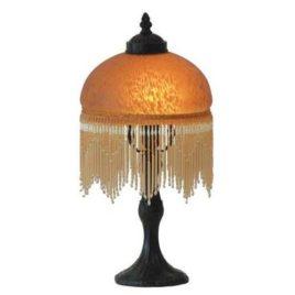 Victorian Bead Amber Lamp