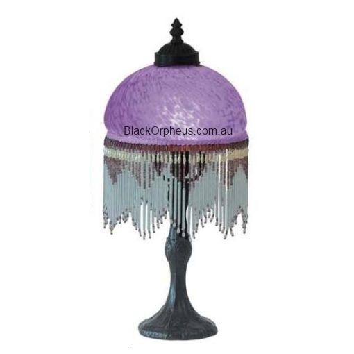 Beaded victorian lamp purple black orpheus for Purple beaded lamp shade