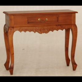 Hall Table Carved 1 Drawer Queen Ann