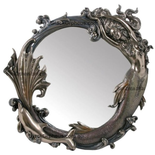 Wall Mirror Art Nouveau Mermaid Amp Dolphin Black Orpheus