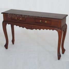 Hall Table Carved 2 Drawer Queen Ann