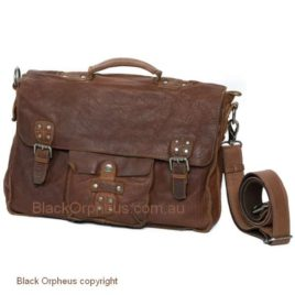 Rugged Hide Vintage Leather Satchel Raw Edge