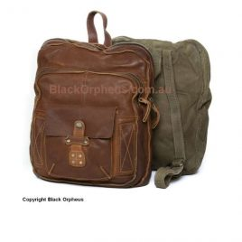 Rugged Hide Vintage Leather Timothy Backpack Raw Edge